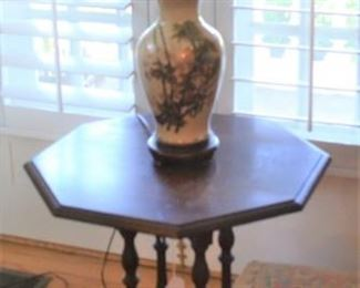 ORIENTAL LAMP - ONE OF SEVERAL AND SIDE TABLE