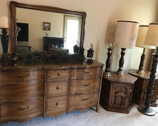 Dixie Triple Dresser with Mirror, End Tables. Barley twist Floor lamp. Table Lamps
