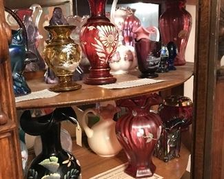 Just the beginning of this Fenton collection. Satin, enameled,cranberry, dew drop s/p, crested, hobnail, Burmese, Favrene, Ruby irridescent, Rosalene, Carnival , HOACGA (Heart of America Carnival Glass Association) and so much more.