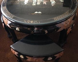 Oriental Black Lacquer Chow Table with Mother of Pearl Hand Carved Stools