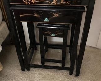 Asian style nesting tables - set of 4