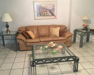 Leather sofa tan / coffee table with matching side tables iron.