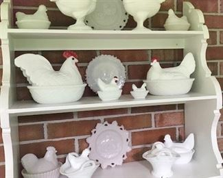 Collection of milk glass chicken