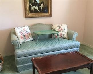 Loveseat , antique small coffee table, dog painting