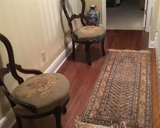 Pair of Victorian chairs with tapestry pillow , Persian small runner.