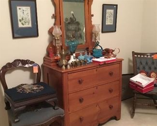 Small pine dresser with mirror, much smaller than average, very nice. Occasional chairs and side table.