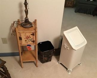Vintage smoking stand & white painted coal bin