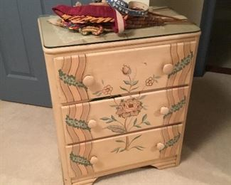 On of two painted chest