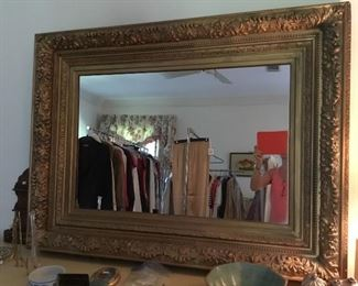 Large maybe 3' x 4' Antique gilt mirror