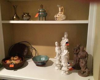 Oriental items, some cloisonné.