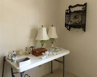 Chartreuse green lamps and milk glass base