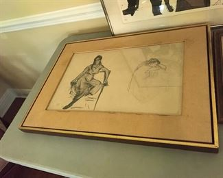 "Listed artist Robert Henri pencil ""lady seating"""