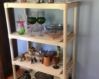 Collectibles, crystal, depression glassware...