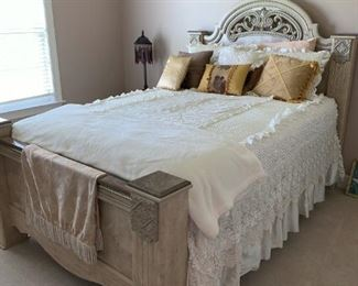 Queen Size bed marble bed post. Paid over $2,500.  One night stand  and huge mirror dresser marble top with 9 drawers included in pictures