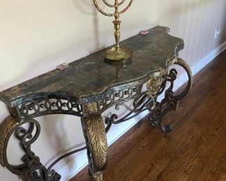 Wall unit make out brass iron and marble top i think but it is heavy - Weight  over 300 pounds