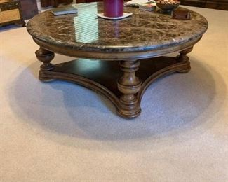 Huge Thomasville Marble coffee table that sits in the middle of the floor. Paid over $5000 for it. Over 400 pounds you need 3 strong people to carry it out.