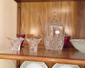 Crystal biscuit jar and candlestick holders