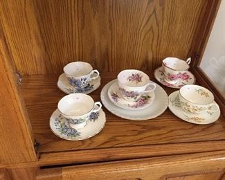5 bone china tea cups with saucers