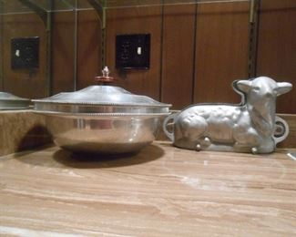 Vintage chocolate mold & covered-hammered Aluminum large bowl