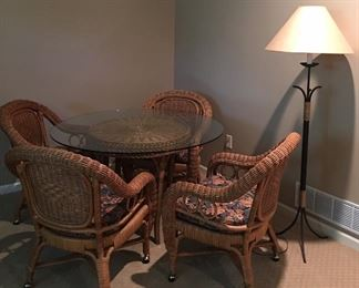 Five Piece Wicker Rolling on Castors Dining Set • Table + 4 Chairs • Glass Top