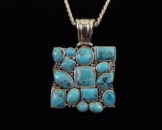 .925 Sterling Silver Turquoise Cluster Cabochon Pendant Necklace