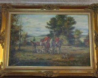 1925-1978 Horst Altermann Equestrian Hunt Scene Oil Painting