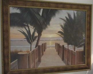 Framed Palm Tree Beach Tropical Ocean Pier Signed Print