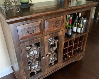 AVAILABLE! Gorgeous Reclaimed Wood Wine Cabinet.  Perfect Condition.  Will sell now for $1100!
