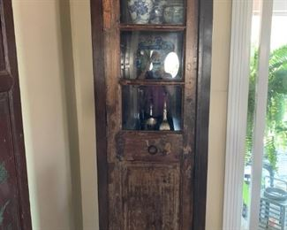 AVAILABLE!! Stunning Reclaimed Wood Curio Cabinet with three shelves and storage beneath.   Will sell now for $990!