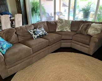 Marked Down!!  Lazy Boy Collins Sectional with rounded corner piece.  Performance 'faux suede' fabric.  Excellent condition, no stains!  Will sell now for $800! Originally $5000.  Rug also available for $35