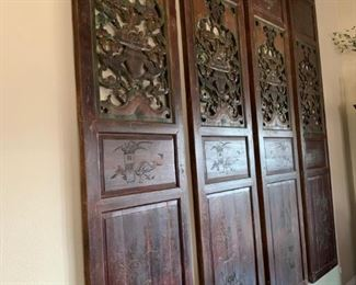 AVAILABLE!!  Unique antique panel doors from a temple in China.  Hand carved.  Absolutely stunning.  You won't find these anywhere else!  Will sell now for $4200