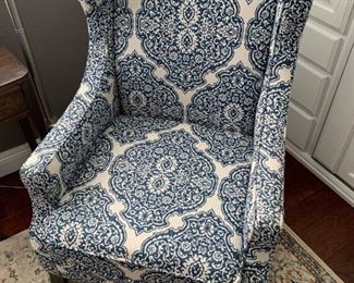 SOLD Pier 1 Imports Arm Chair.  Pretty blue and white pattern.  Will sell now for $325