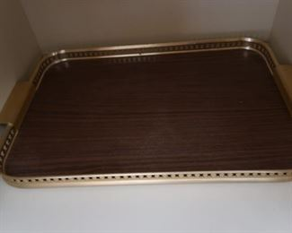Set of 2 vintage wood and gold-colored trays