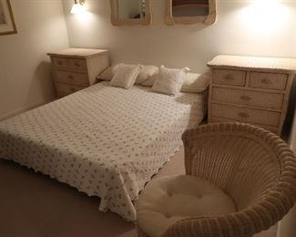 Matching set includes 2 mirrors, 2 nightstands, and spiral chair