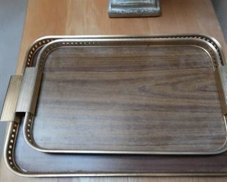 Vintage cocktail trays with gold-colored trim