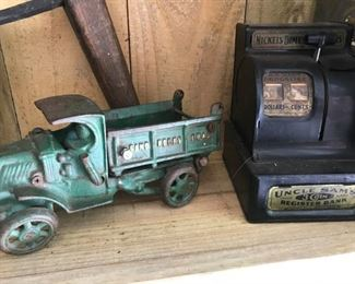 Antique truck and bank