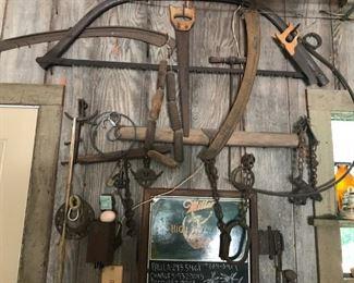 Soooo many wonderful old tools and farm pieces