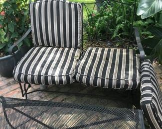 metal loveseat and ottoman/table