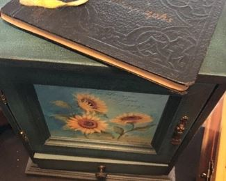 One of many jewelry boxes and an old autograph book from the 1930's