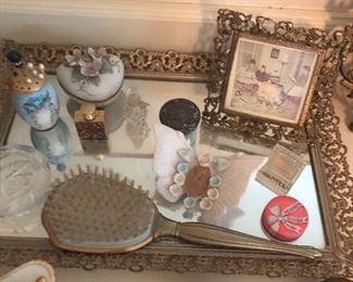 Great vintage dresser tray and items