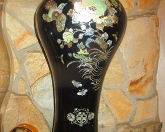Black Ceramic Vase over brass--inlaid with mother of pearl from Japan.Pair of two.