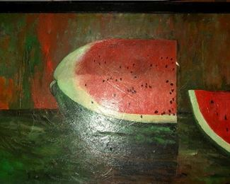 Watermelon long painted wall decor
