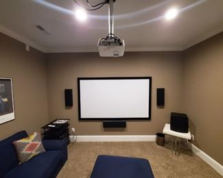 """Home Theater; BenqQ projector, 91"""" screen, 5 speakers, receiver."""