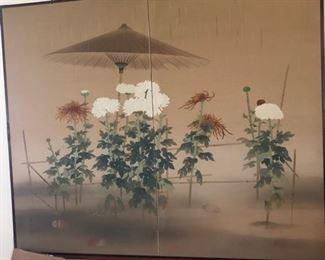 """Chrysanthemums in the Rain"" , Terada Roshu, 1894-1947, Japanese Folding Screen, Gofu on Silk, 63"" X 78.75"", Painted in 1920."