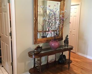ENTRY WAY TABLE, EXCELLENT BEVELED GLASS MIRROR.
