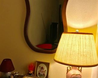 Antique mirror and lamp