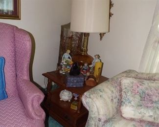 Square 1970s end table $50.00, End of Sofa, really clean $100.00, Large 70s table lamp $35.00