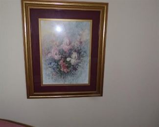 Pr. Framed floral prints $35.00 pr.