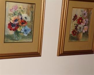 Pr. Framed floral prints $35.00 pair