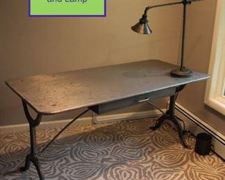 Industrial Looking Restoration Hardware Metal Desk and Lamp